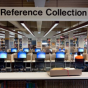 Computer and reference collection in library.