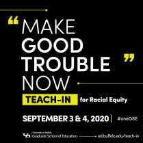 Promotional graphic for GSE Teach-In Event.