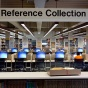 A reference collection area in a library.