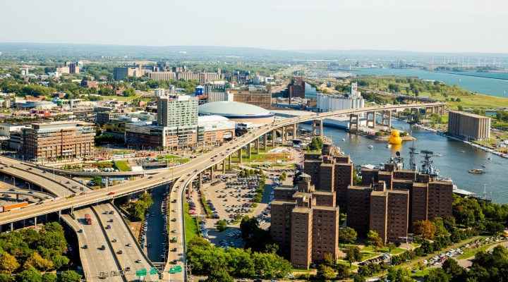 Aerial photo of city of Buffalo overlooking Canalside and Lake Erie