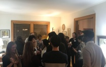 ECPS students gathered at Dr. Lois Weis' home.