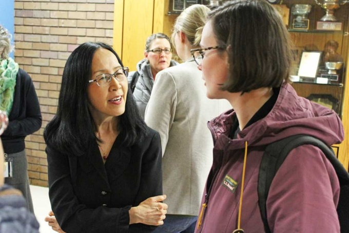 Okhee Lee speaks with students after her participation in the 2020 Dean's Lecture Series.