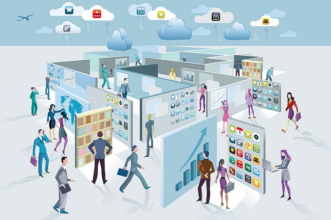Conceptual illustration of information management. Business men and women walk among large screens displaying information that form a labyrinth.