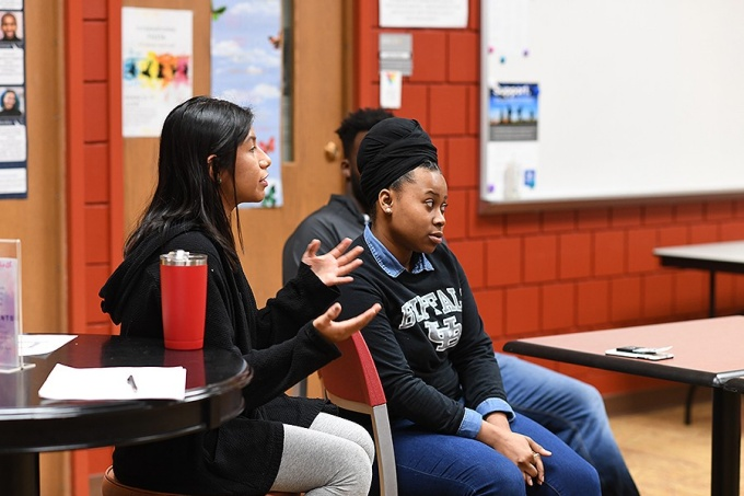 "Alexandra Torres, a senior in International Studies, spoke to eighth graders of finding ""the passion that I have"" pertaining to her studies, suggesting that they each do the same."