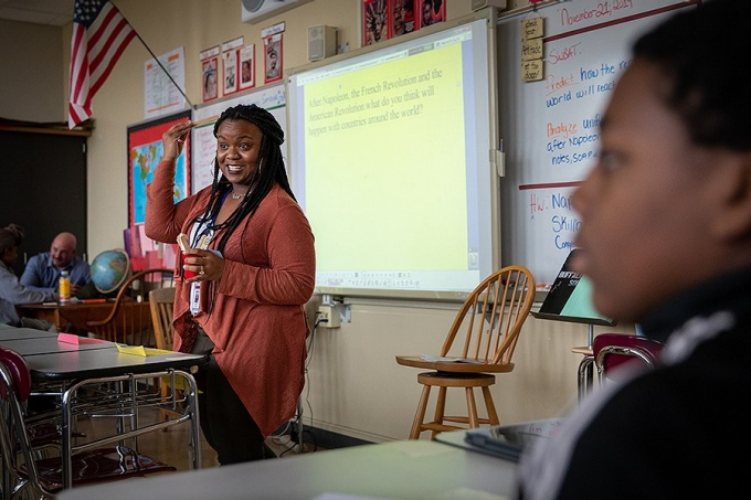 Sydney Favors, a resident teacher, leading a class at South Park High School.