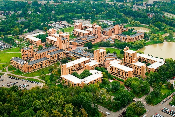 Aerial view of the Ellicott Complex where the Millard Fillmore Academic Center and Porter Quad is located.