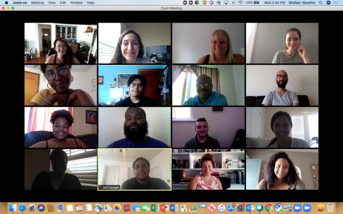 Members of the second class of the Teacher's Residency Institute on a Zoom chat.